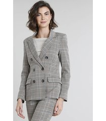 blazer feminino transpassado estampado xadrez com bolsos kaki