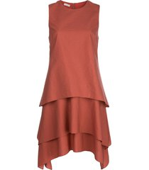 brunello cucinelli sleeveless tiered shift dress