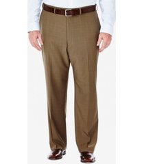 haggar men's big & tall eclo stria classic-fit flat-front hidden expandable waistband dress pants