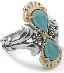 american west two-tone green turquoise gemstone ring in sterling silver
