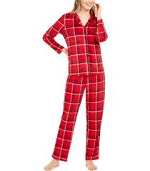 nautica women's velour notch-collar plaid pajama set, online only