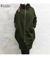 zanzea para mujer cuello alto cuello zip up ropa exterior parka damas causal suelta coats -ejercito verde