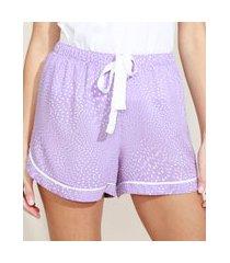 short feminino pijama estampado de poá com viés e cordão lilás