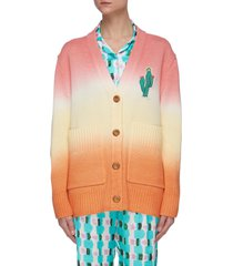cactus embroidered hand dyed ombre knit cardigan