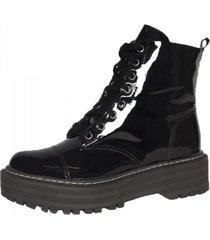bota coturno chyrro  verniz preto - preto - feminino - dafiti