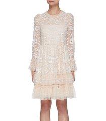 'celia' sequin embellished ruffle mini dress