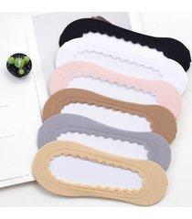 femmina skidproof silicone materiale inferiore in pizzo traspirante elastico solido invisibile modello barca calze