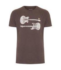 t-shirt masculina regular guitars - marrom