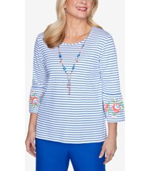 alfred dunner three-quarter bell sleeve striped knit top with detachable necklace