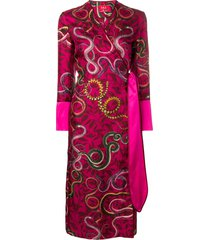 f.r.s for restless sleepers snake print wrap dress - pink