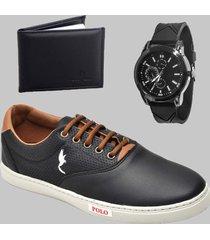 sapatenis casual masculino preto com relógio e carteira