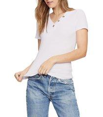 women's michael stars kiana short sleeve henley t-shirt, size one size - pink