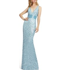 women's mac duggal sequin column gown, size 18 (similar to 16w) - blue