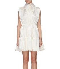exaggerated collar sleeveless tier crinkle satin shirt dress