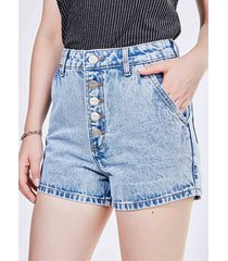 short cintura alta em jeans marmorizado