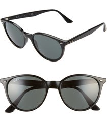 ray-ban phantos 53mm round sunglasses in black/green solid at nordstrom