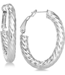 textured oval hoop earrings in sterling silver