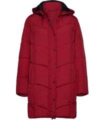 coat outerwear heavy gevoerde lange jas rood brandtex