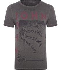 t-shirt masculina crossing lines - cinza