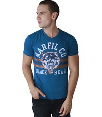 camiseta de hombre marfil slim fit algodon bear azul
