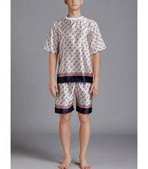 pijama de seda de hielo para hombre traje de pijama con estampado de letras de manga corta de verano