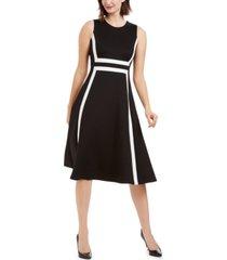 calvin klein colorblocked a-line midi dress