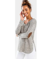 calven v-neck elbow patch sweater - taupe