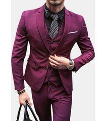 uomo completo formale a 3 pezzi blazer gilet slim fit in colore a tinta unita