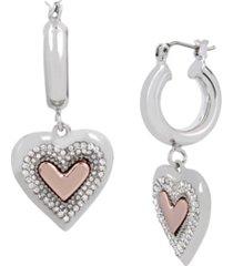 heart charm huggie hoop earrings