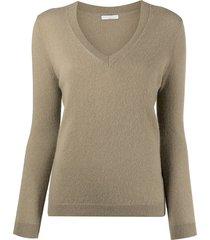 12 storeez ribbed-knit v-neck cashmere sweater - green