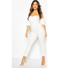 petite ruched puff sleeve jumpsuit, ivory