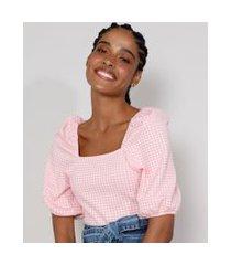 blusa de jacquard feminina estampada xadrez vichy manga bufante decote reto rosa claro