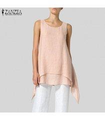 zanzea verano de las mujeres sin mangas del chaleco tee camiseta del club del partido cami playa túnica de la blusa -rosado