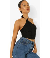 geribbelde top met halter neck en naaddetail, black