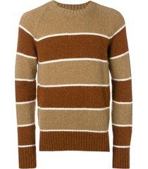 ami crew neck raglan sleeves striped sweater - brown