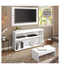 """rack com painel e suporte para tv até 50"""" com mesa de centro atualle multimóveis branco"""