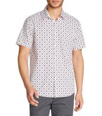 tallia men's slim fit 4-way stretch geo skull print short sleeve shirt