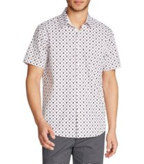 tallia men's slim fit 4-way stretch geo skull print short sleeve shirt