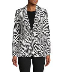 zebra striped cotton-blend blazer