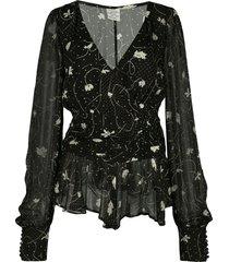 baum und pferdgarten dotty string leaf-print chiffon blouse - black