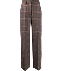 essentiel antwerp waverly high-waisted tweed trousers - brown
