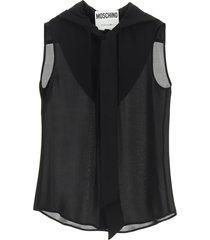 moschino hooded silk shirt