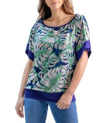 women's monstera leaf print wide sleeve top