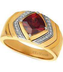 le vian gents men's pomegranate garnet (2-1/2 ct. t.w.) & diamond (1/8 ct. t.w.) ring in 14k gold
