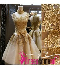 ball gown plus size prom dress,high neck champagne evening party dress re102