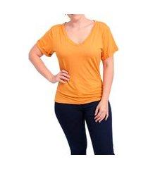 blusa feminina t shirt babylook gola v manga dobrada laranja