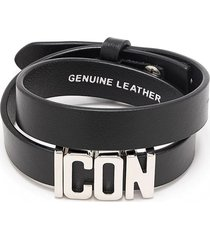 dsquared2 woman black and silver icon leather bracelet
