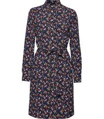 d1. scribbled floral shirt dress knälång klänning blå gant
