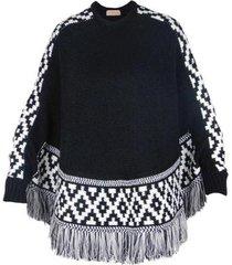 poncho feminino malha tricô