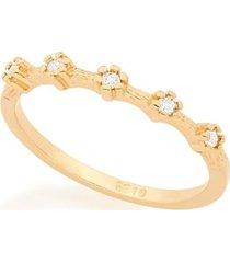 anel skinny ring flores com cinco zircônias rommanel